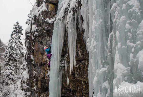 Eisklettern am Hengstpass, Üb-Fall in Unterlaussa