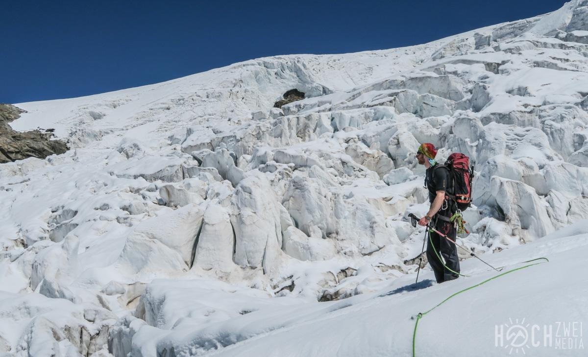 Lyskamm-Überschreitung Wallis Abstieg Grenzgletscher