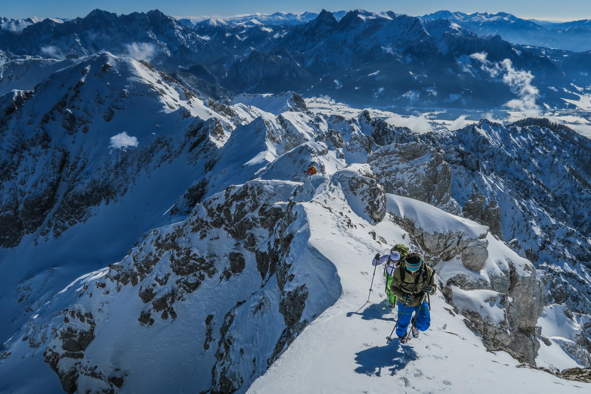 Skitouren im Gesäuse und den Haller Mauern Hexenturm übers Rosskar von Oberlaussa (OÖ)