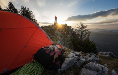 Grazer Bergland Biwak Rote Wand Klettern Zelt Sonnenaufgang