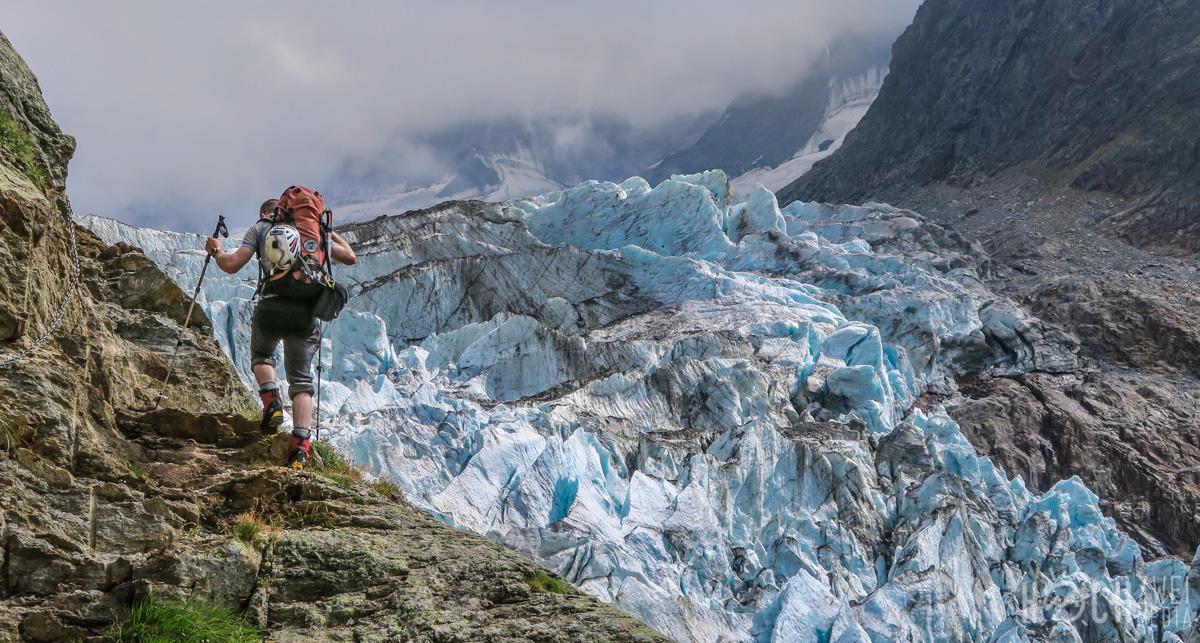 Schreckhorn-Überschreitung Lauteraarhorn Gratklettern Zustieg Schreckhornhütte Gletscher Gletscherbruch