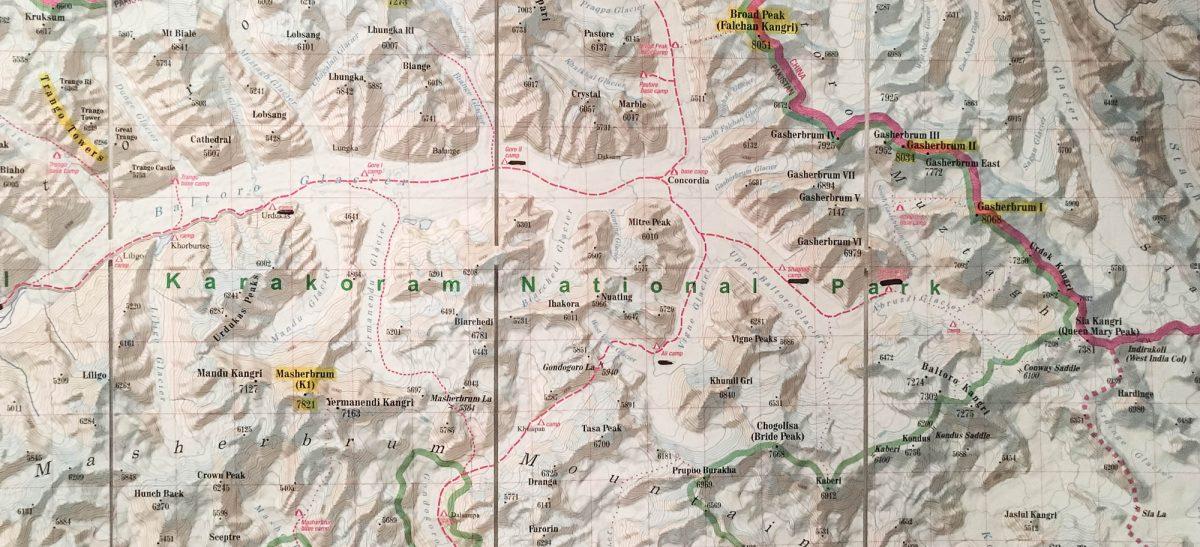Karte vom Baltoro-Gebiet