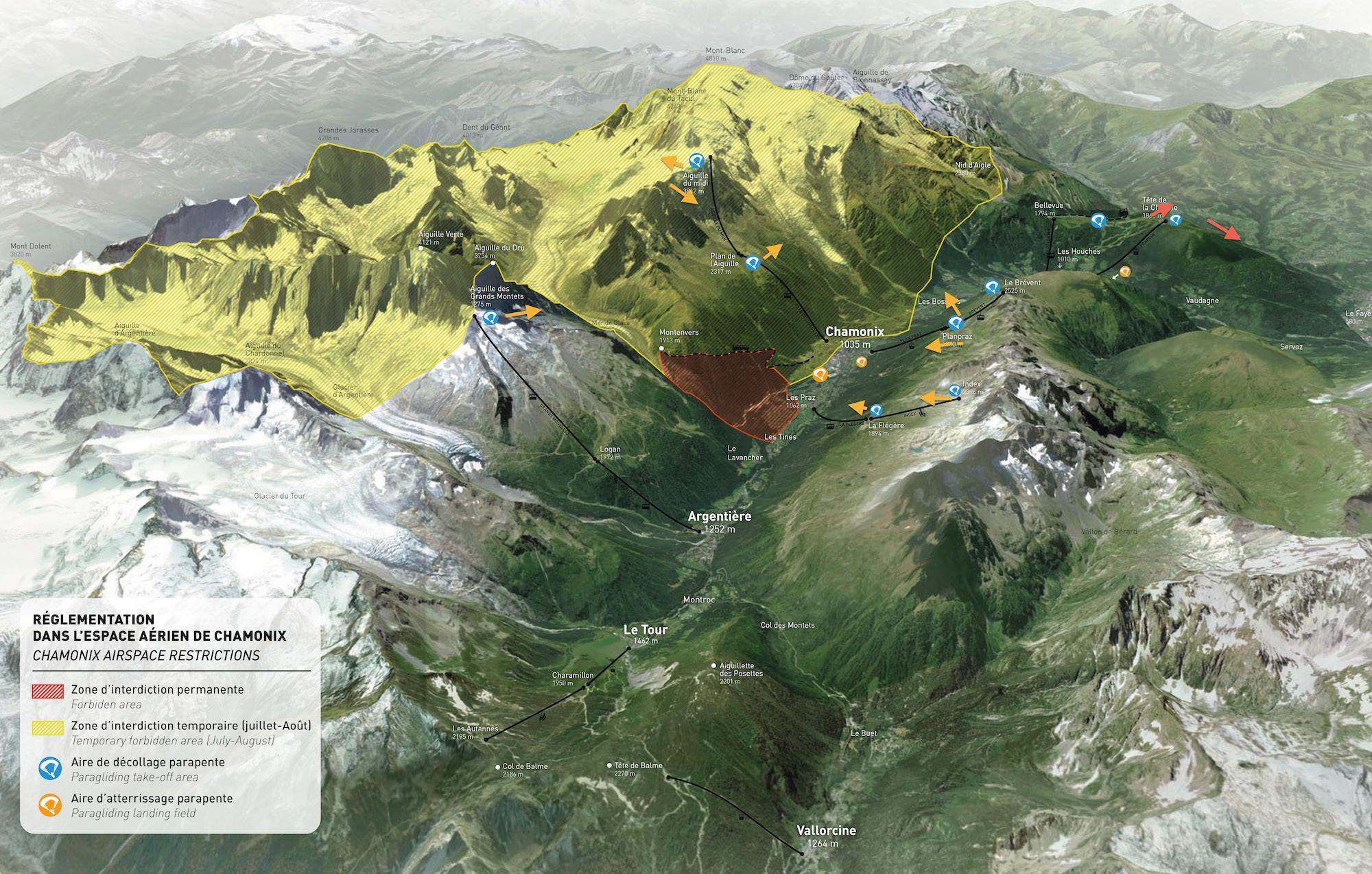 Übersicht Flugverbote Mont Blanc